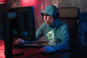 Mockup Of A Gamer With A Hoodie
