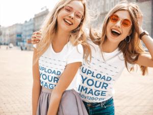 T Shirt Mockup Featuring Two Young Women Having Fun