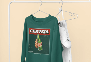 Mockup Of A Sweatshirt Hanging From A Rack At Home