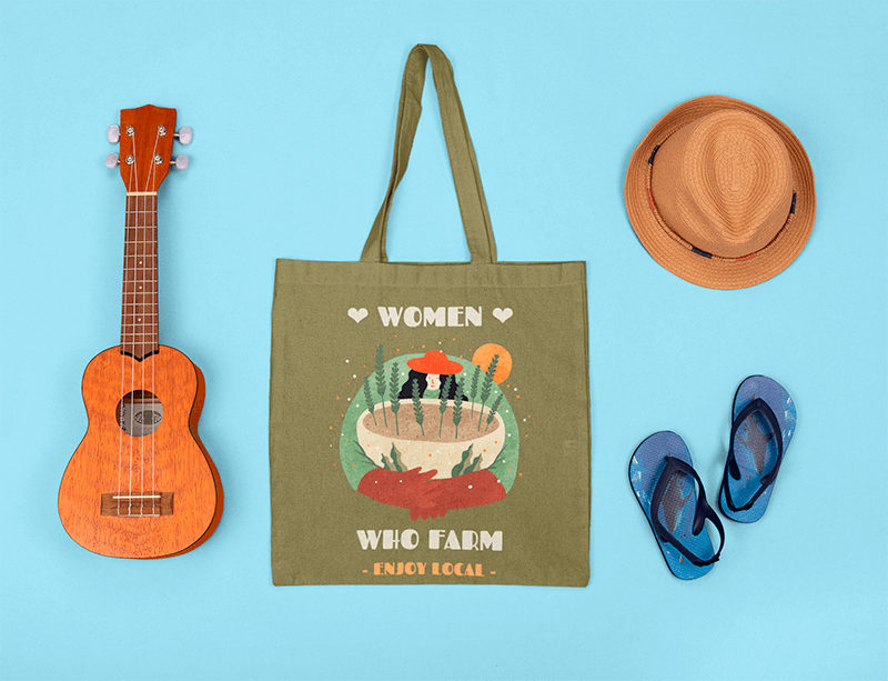 Mockup Of A Tote Bag Featuring A Musician Kid S Items