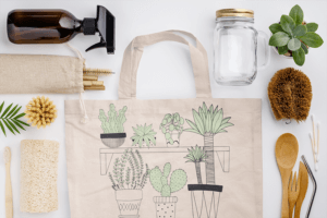 Sublimated Tote Bag Mockup Surrounded By Sustainable Products