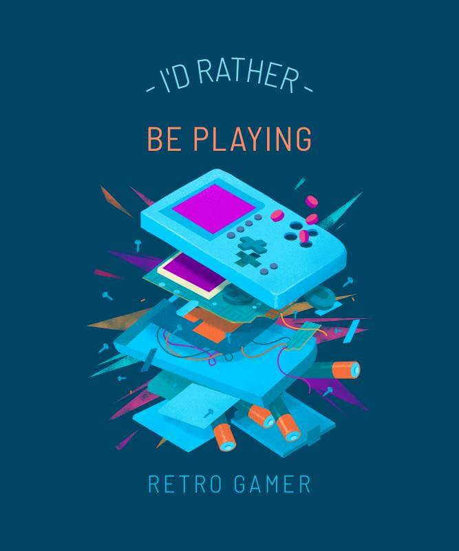 T Shirt Design Template Featuring A Deconstructed Gaming Device