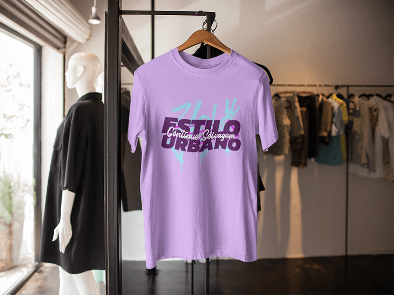 T Shirt Mockup On A Hanger Inside A Clothes Store