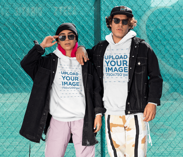 Hoodie Mockup Of A Couple Wearing Athleisure Outfits