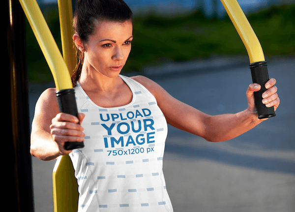 Sublimated Tank Top Mockup Of A Woman Exercising With A Pec Dec Machine