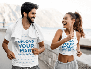 V Neck T Shirt And Crop Top Mockup Of Two Friends Running