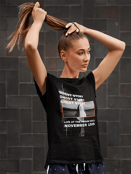 Activewear Mockup Featuring A Woman Wearing A T Shirt And Fixing Her Hair