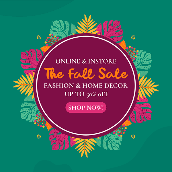 Ad Banner Template For An Online Autumn Sale Featuring Colorful Leaves