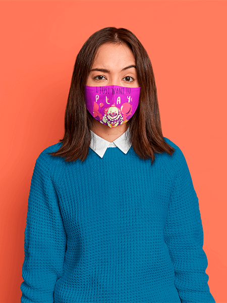 Face Mask Mockup Featuring A Confused Woman Standing In A Studio