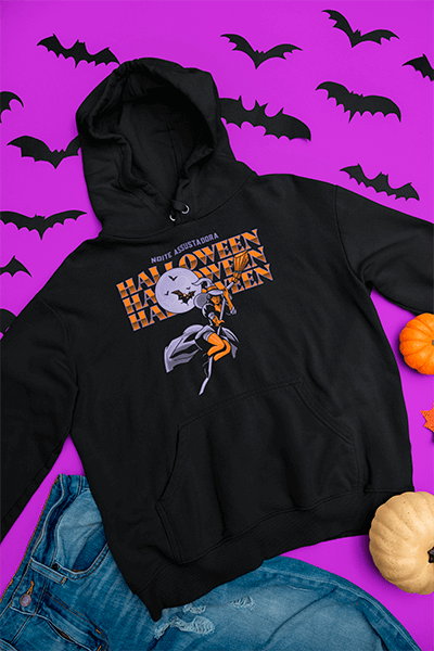 Flat Lay Mockup Of A Pullover Hoodie In A Halloween Setting