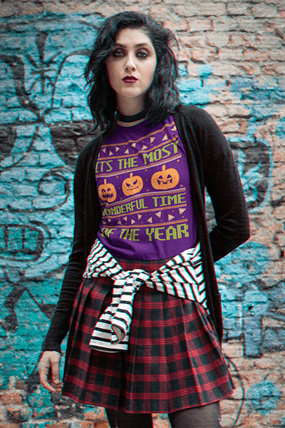 Grunge Styled T Shirt Mockup Featuring A Serious Woman Against A Brick Wall