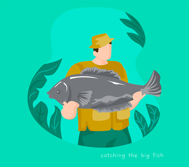 Illustrated T Shirt Design Generator Featuring A Fisherman Posing With A Big Fish