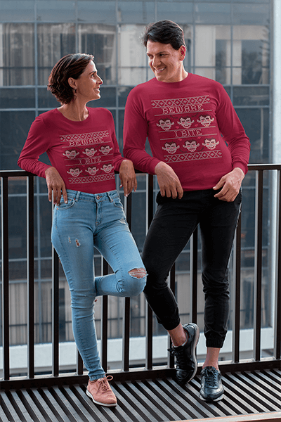 Long Sleeve T Shirt Mockup Of A Couple Talking In The Balcony 31689