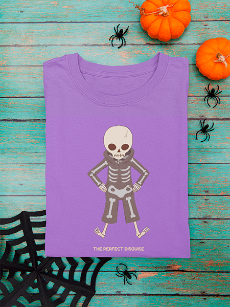 Mockup Of A Folded T Shirt Featuring Halloween Decor Items