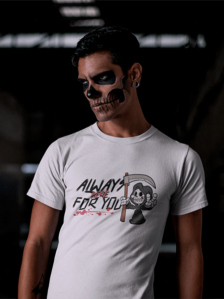 Mockup Of A Man With Halloween Skull Makeup Wearing A T Shirt