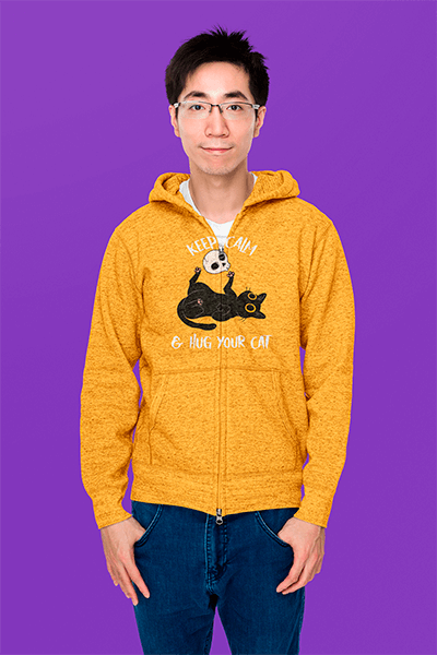 Simple Mockup Of A Young Man Wearing A Heather Hoodie In A Studio