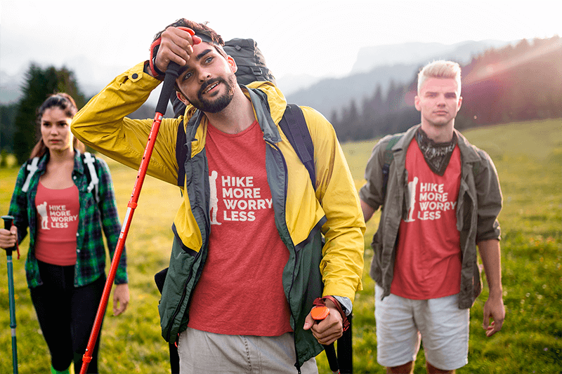 T Shirt And Tank Top Mockup Of A Group Of Friends Hiking