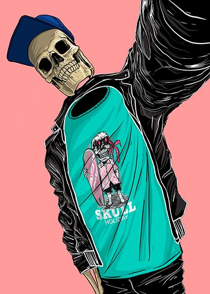 T Shirt Mockup Featuring An Illustrated Skeleton Cartoon