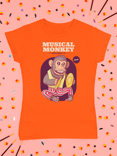 T Shirt Mockup Featuring Halloween Candies And Decorations M102
