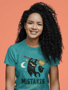 T Shirt Mockup Featuring The Closeup Of A Curly Haired Woman M3081 R El2