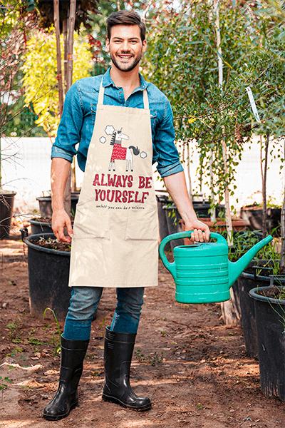 Apron Mockup Featuring A Happy Gardener
