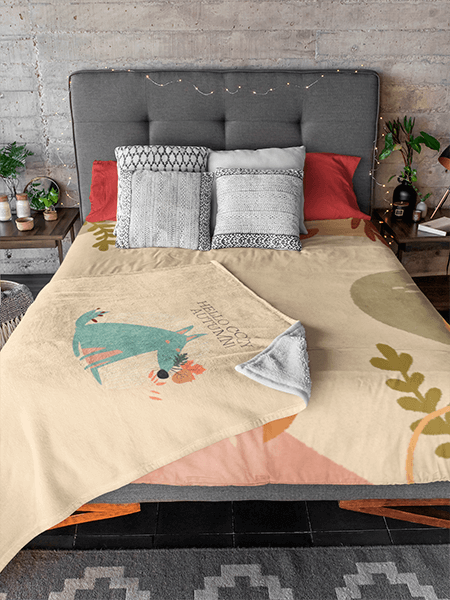 Mockup Of A Bed With A Duvet Cover And A Blanket On Top