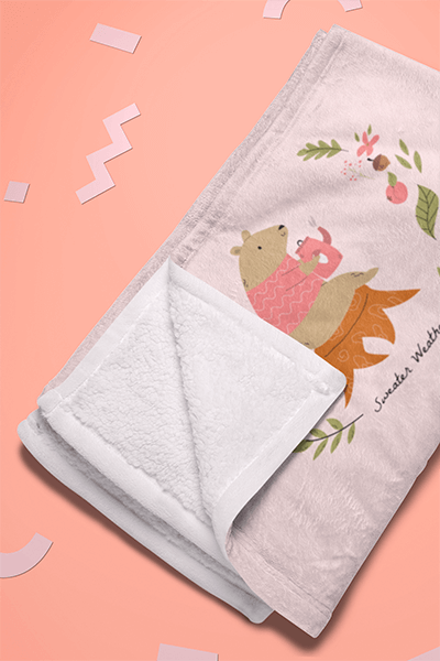 Mockup Of A Folded Blanket Surrounded By Cool Shapes