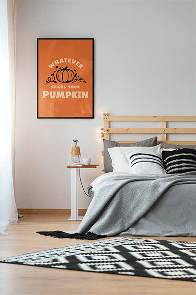 Mockup Of An Art Print Hanging In A Modern Bedroom