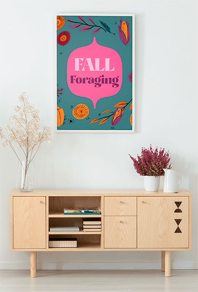 Mockup Of An Art Print Placed By Decorative Flowers
