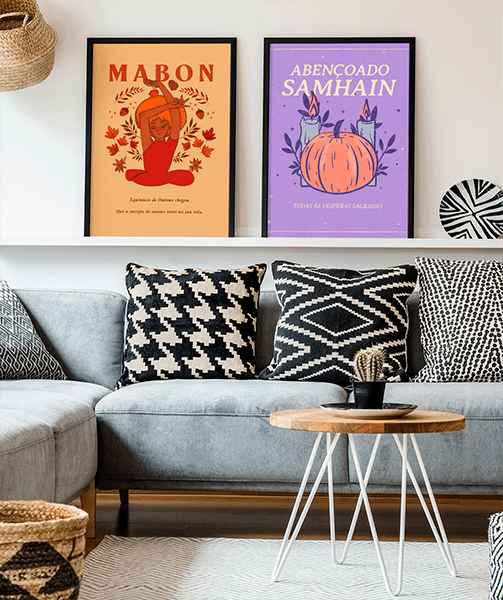 Mockup Of Two Art Prints Placed On A Shelf