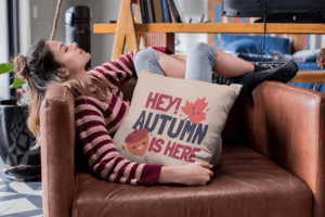 Pillow Mockup Of A Woman Relaxing On Her Couch