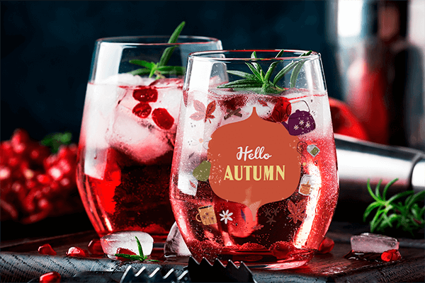 Stemless Wine Glass Mockup Featuring Refreshing Drinks