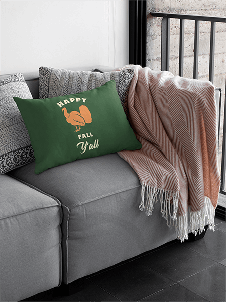 Sublimated Pillow Mockup Featuring A Gray Couch