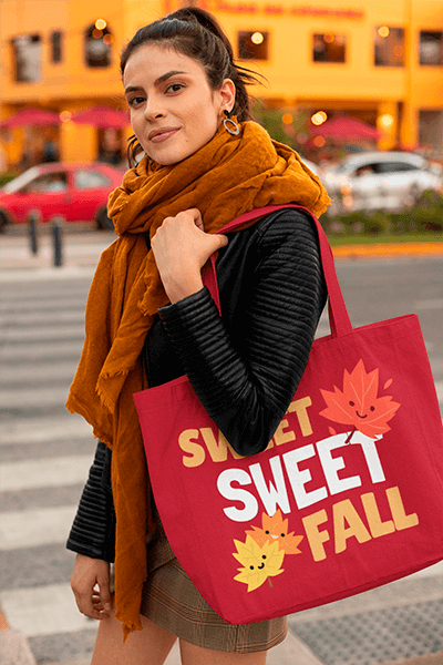 Tote Bag Mockup Featuring A Woman With A Scarf At A Street