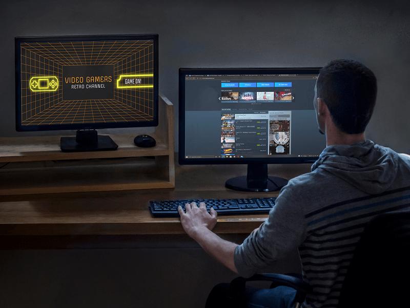 Two Desktop Pc Working At Night