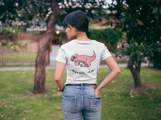 Back Shot Of A T Shirt Mockup Featuring A Woman At A Park 20574
