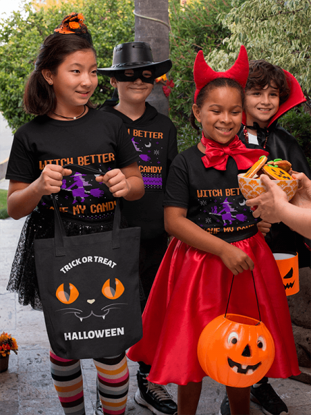 Halloween Mockup Of Kids With T Shirts And Tote Bags Asking For Trick Or Treat