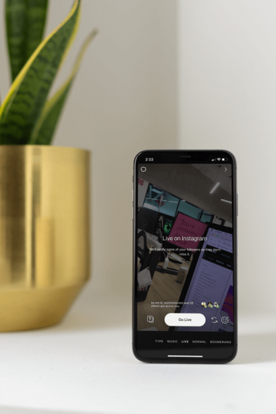 Iphone Xs Mockup Featuring Instagram Live Image