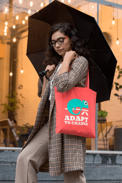 Mockup Of A Fancy Woman Carrying A Tote Bag On A Rainy Afternoon